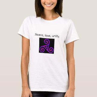 T-shirt Paix, amour, et unité Triskelion