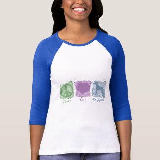 T-shirt Paix, amour, et whippets en pastel