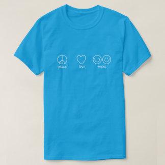T-shirt Paix, amour, jumeaux (foncés)
