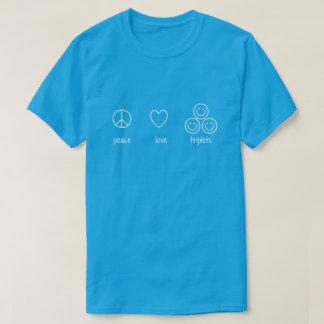 T-shirt Paix, amour, triplets (foncés)