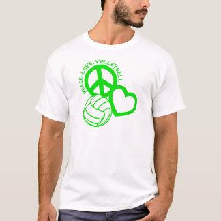T-shirt Paix-Amour-Volleyball. vert