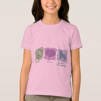 T-shirt Paix en pastel, amour, et enfant belge de chiens