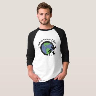 T-shirt Paix par la chemise de douille du jeu 3/4