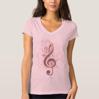 T-shirt PalePink de V-Cou du Jersey de clef triple