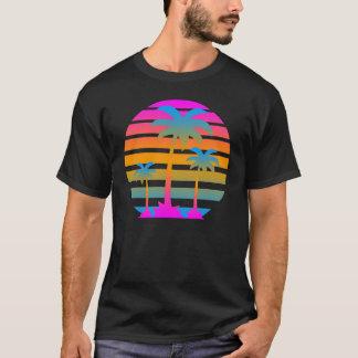 T-shirt Palmiers de coucher du soleil de tigre de Corey