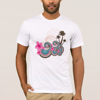 T-shirt Palmiers tropicaux de plage de ketmie de roses