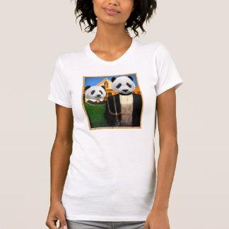 T-shirt Panda gothique américain avec le cadre en bambou