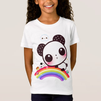 T-Shirt Panda mignon avec la nourriture de kawaii sur