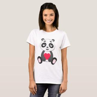 T-shirt Panda mignon de bébé tenant un coeur
