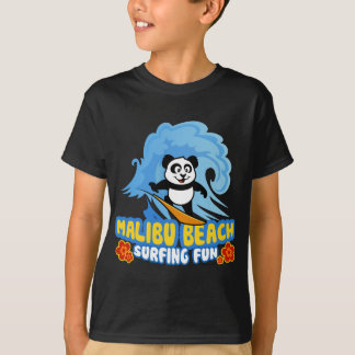 T-shirt Panda surfant de plage de Malibu