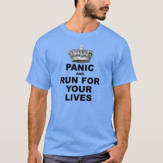 T-shirt Panique et course pendant vos vies