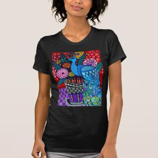 T-shirt Paons avec l'art de fleurs par la bruyère Galler