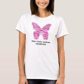 T-shirt Papillon de zèbre de rose de conscience d'EDS