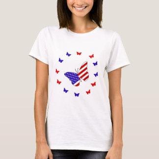 T-shirt Papillon rouge, blanc et bleu solide