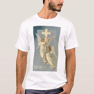 T-shirt Pâques vintage, anges victoriens avec une croix
