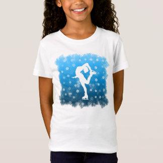 T-Shirt Patinage artistique bleu de gradient dans la neige
