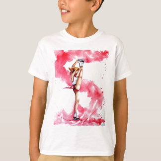 T-shirt Patineur artistique rouge de filet de patinage de
