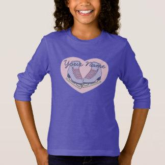 T-shirt Patins nommés personnalisés de coeur de patinage
