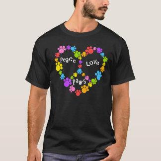 T-shirt pattes de signe de paix ! Coeur d'arc-en-ciel !