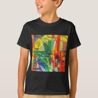T-shirt Paysage avec la Chambre, le chien et la vache par