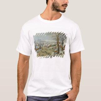 T-shirt Paysage d'hiver avec des patineurs et un piège