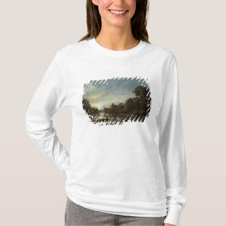T-shirt Paysage éclairé par la lune de rivière avec des