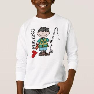 T-shirt Pêche d'amour du garçon I de cheveux noirs