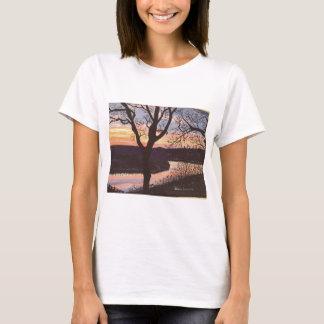 T-shirt Peinture de coucher du soleil de la rivière