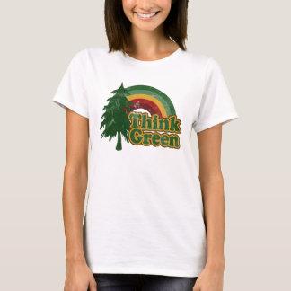T-shirt Pensez l'arc-en-ciel vert et rétro et l'arbre