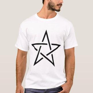 T-shirt Pentagone étoilé noir et blanc de coupe
