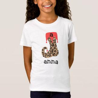 T-shirt personnalisé de bas de Noël de léopard