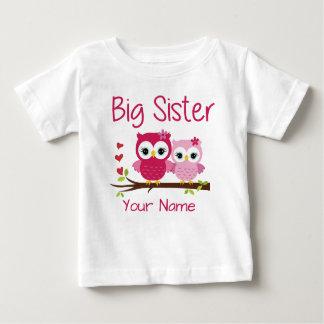 T-shirt personnalisé par hibou de rose de grande
