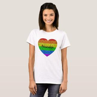 T-shirt Personnalisez le coeur vibrant d'étincelles de