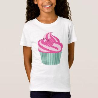 T-Shirt Petit gâteau rose de cerise avec les rayures