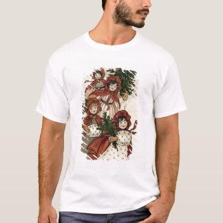T-shirt Petites filles avec le houx et l'arbre de Noël