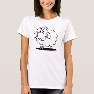 T-shirt Petits moutons blancs mignons de bande dessinée