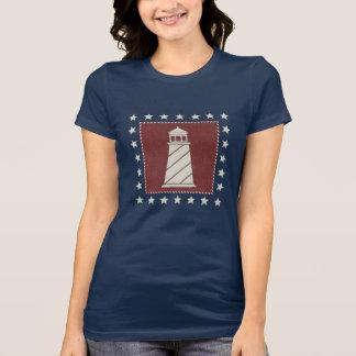 T-shirt Phare côtier de l'art   sur le rouge