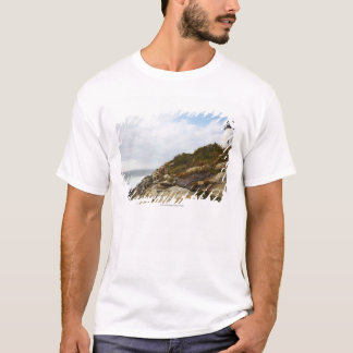 T-shirt Phare de point de Pemaquid sur Hillside rocheux