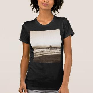 T-shirt Photo de cru de plage de la Californie de pilier