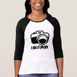 T-shirt Photographe noir moderne d'icône d'appareil-photo