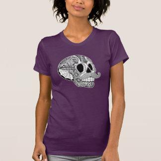 T-shirt Pièce en t de crâne de sucre de moustache de dames