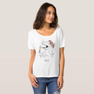 T-shirt Pièce en t de jeune mariée de couronne de fleur de