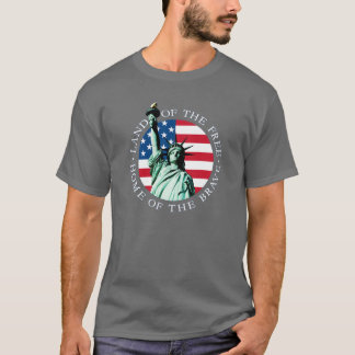 T-shirt Pièce en t de liberté de statue de drapeau