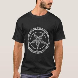 T-shirt pièce en t de pentagone étoilé de baphomet