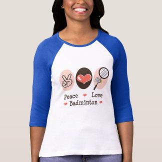 T-shirt Pièce en t de raglan de badminton d'amour de paix