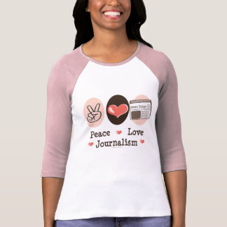 T-shirt Pièce en t de raglan de journalisme d'amour de