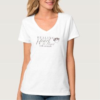 T-shirt Pièce en t de v-cou de Hanes des femmes