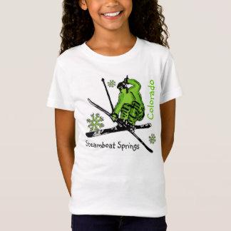T-Shirt Pièce en t de vert de ski de filles de Steamboat