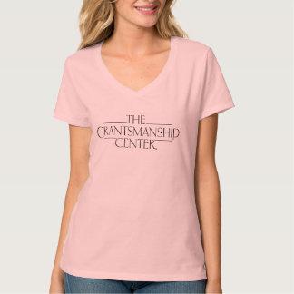 T-shirt Pièce en t légère du V-cou des femmes de logo de