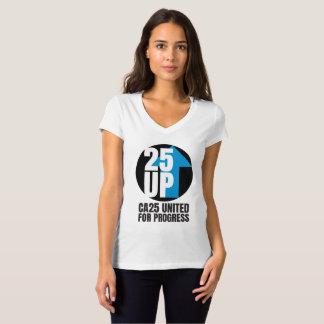T-shirt Pièce en t mince de V-Cou d'ajustement de logo